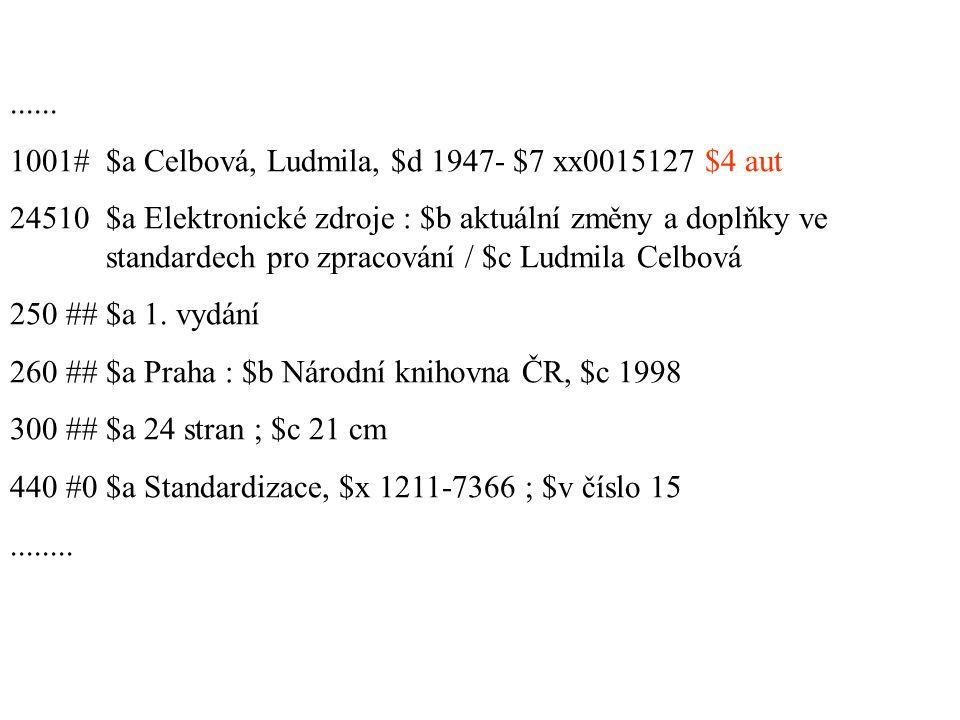 LDR -----nz--a22-----n--4500 001 kn20010710045 003 CZ-PrNK 005 20010710000000.0 008 010710|n|acnnnaabn-----------n-a|a------ 040 ##$a ABA001 $b cze $d ABA001 110 2#$a Univerzita Karlova.