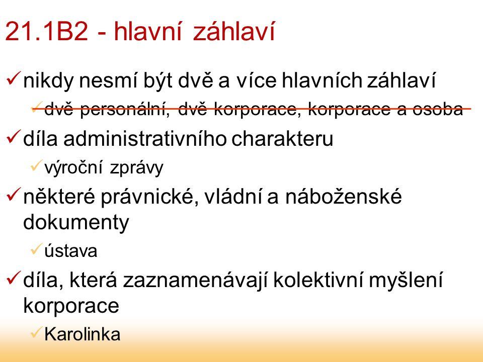 21.1B2 - hlavní záhlaví díla, která jsou zprávami o kolektivních aktivitách, konferencích apod.