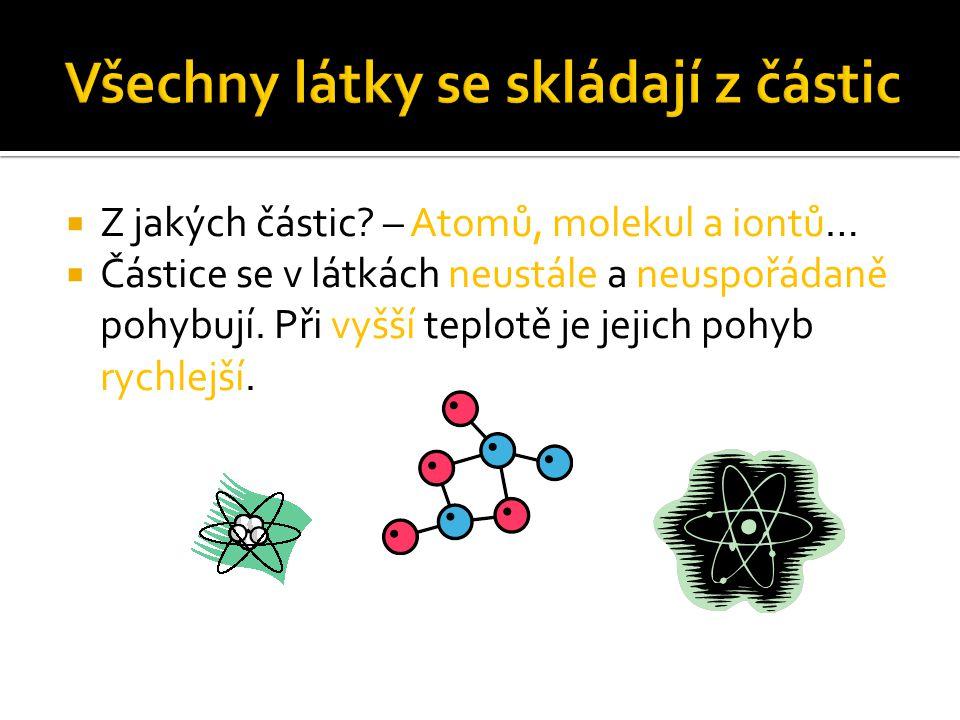  Z jakých částic? – Atomů, molekul a iontů…  Částice se v látkách neustále a neuspořádaně pohybují. Při vyšší teplotě je jejich pohyb rychlejší.