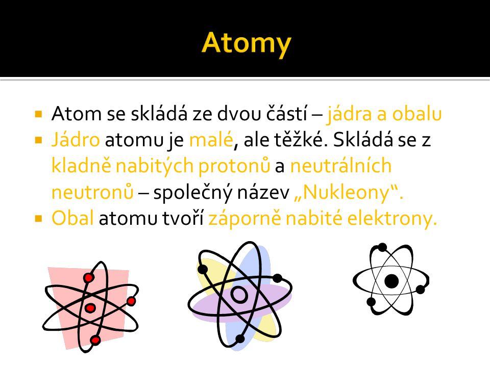  Atom se skládá ze dvou částí – jádra a obalu  Jádro atomu je malé, ale těžké. Skládá se z kladně nabitých protonů a neutrálních neutronů – společný
