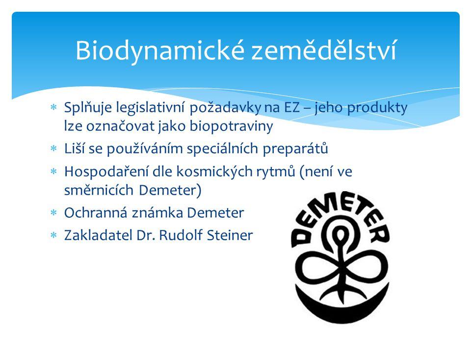  Splňuje legislativní požadavky na EZ – jeho produkty lze označovat jako biopotraviny  Liší se používáním speciálních preparátů  Hospodaření dle ko