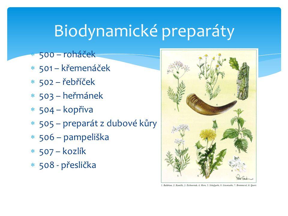 Biodynamické preparáty  500 – roháček  501 – křemenáček  502 – řebříček  503 – heřmánek  504 – kopřiva  505 – preparát z dubové kůry  506 – pam
