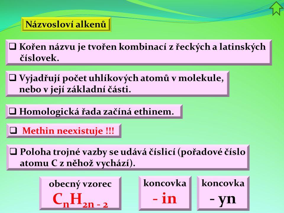Názvosloví alkenů  Vyjadřují počet uhlíkových atomů v molekule, nebo v její základní části.