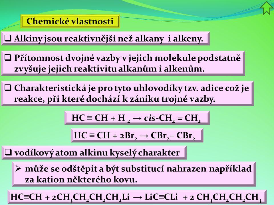 Chemické vlastnosti  Alkiny jsou reaktivnější než alkany i alkeny.