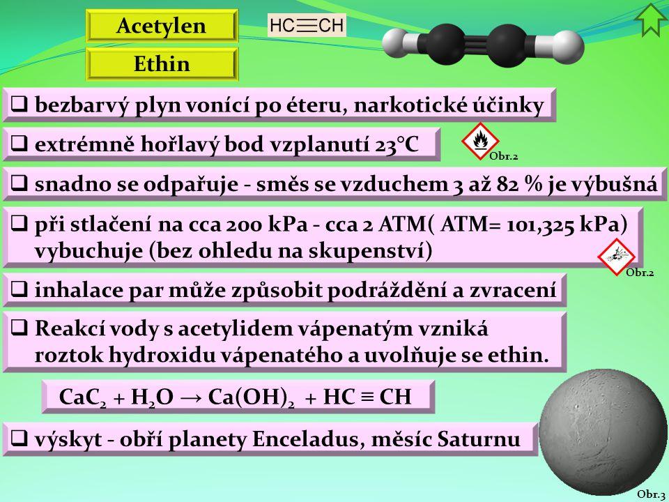 Obr.3 Ethin  bezbarvý plyn vonící po éteru, narkotické účinky  extrémně hořlavý bod vzplanutí 23°C Obr.2 Acetylen  snadno se odpařuje - směs se vzduchem 3 až 82 % je výbušná  inhalace par může způsobit podráždění a zvracení  Reakcí vody s acetylidem vápenatým vzniká roztok hydroxidu vápenatého a uvolňuje se ethin.