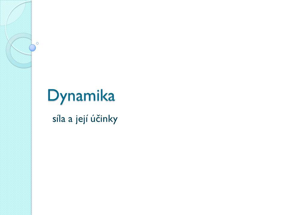 Dynamika obor mechaniky zabývá se příčinami pohybu těles a jejich změnami z řeckého slova dynamis= síla zakladateli klasické dynamiky jsou Galileo Galilei a Christian Huygens klasická dynamika- zákony platí pro tělesa, která se pohybují malými rychlostmi ve srovnání s rychlostí světla (3·10 8 m·s -1 )