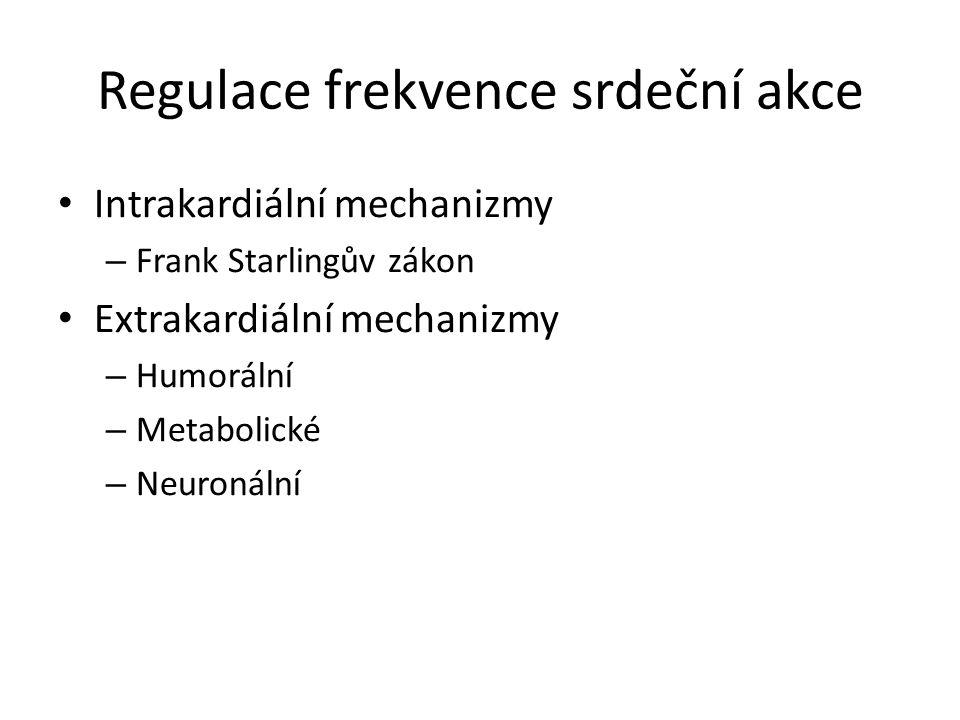 Regulace frekvence srdeční akce Intrakardiální mechanizmy – Frank Starlingův zákon Extrakardiální mechanizmy – Humorální – Metabolické – Neuronální
