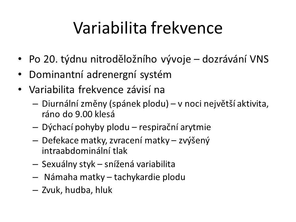 Variabilita frekvence Po 20. týdnu nitroděložního vývoje – dozrávání VNS Dominantní adrenergní systém Variabilita frekvence závisí na – Diurnální změn