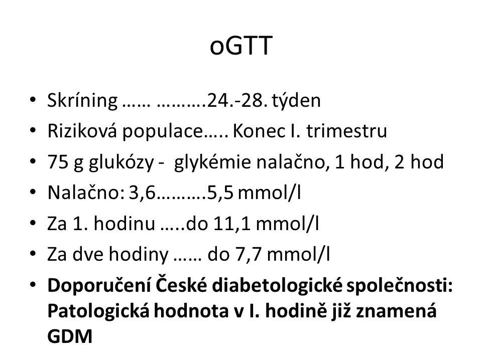 oGTT Skríning …… ……….24.-28. týden Riziková populace….. Konec I. trimestru 75 g glukózy - glykémie nalačno, 1 hod, 2 hod Nalačno: 3,6……….5,5 mmol/l Za