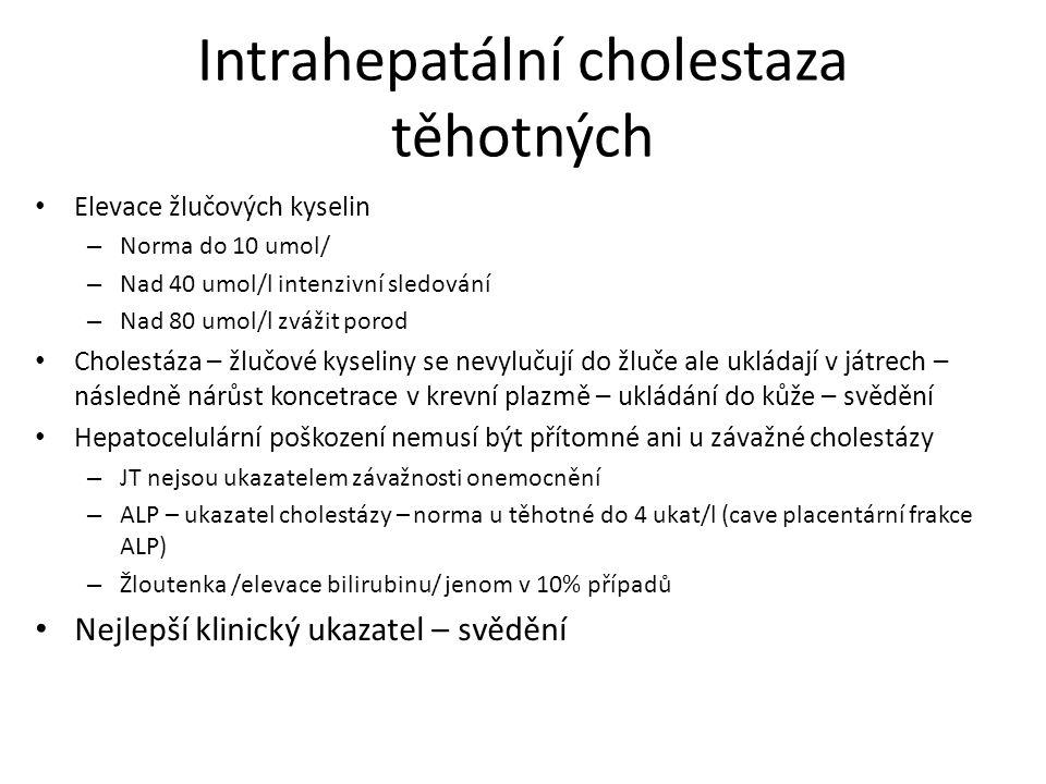 Intrahepatální cholestaza těhotných Elevace žlučových kyselin – Norma do 10 umol/ – Nad 40 umol/l intenzivní sledování – Nad 80 umol/l zvážit porod Ch