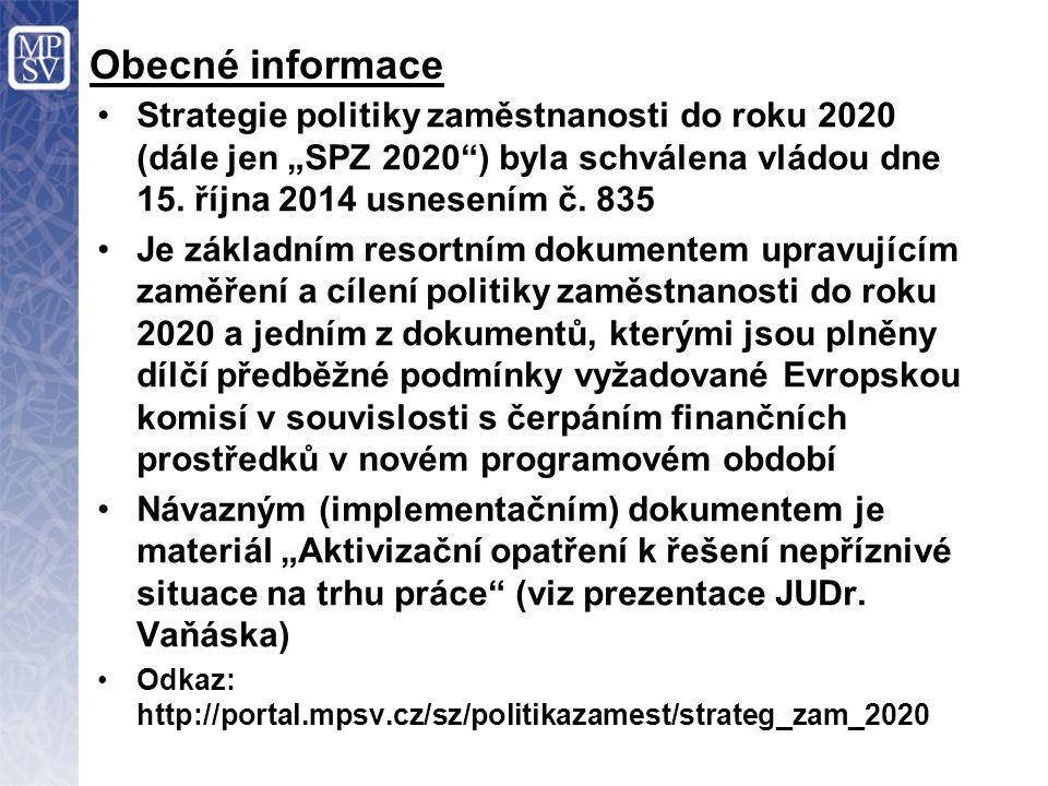 """Obecné informace Strategie politiky zaměstnanosti do roku 2020 (dále jen """"SPZ 2020"""") byla schválena vládou dne 15. října 2014 usnesením č. 835 Je zákl"""
