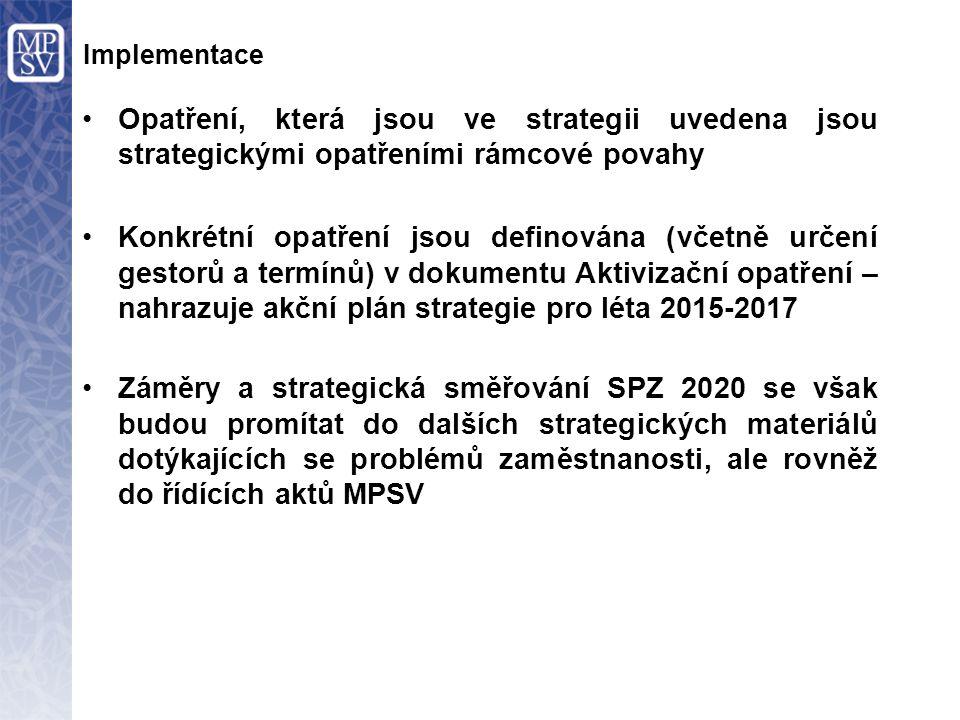 Opatření, která jsou ve strategii uvedena jsou strategickými opatřeními rámcové povahy Konkrétní opatření jsou definována (včetně určení gestorů a ter