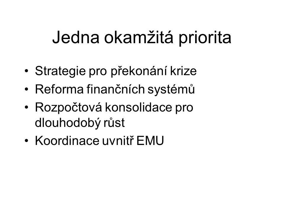 Jedna okamžitá priorita Strategie pro překonání krize Reforma finančních systémů Rozpočtová konsolidace pro dlouhodobý růst Koordinace uvnitř EMU