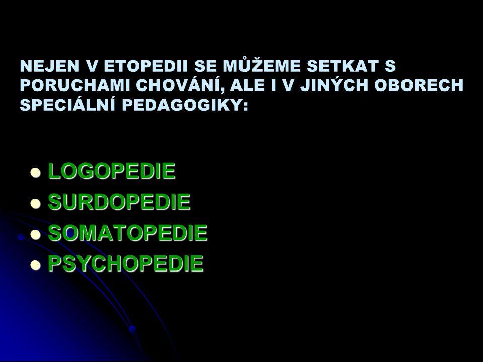 NEJEN V ETOPEDII SE MŮŽEME SETKAT S PORUCHAMI CHOVÁNÍ, ALE I V JINÝCH OBORECH SPECIÁLNÍ PEDAGOGIKY: LOGOPEDIE SURDOPEDIE SOMATOPEDIE PSYCHOPEDIE