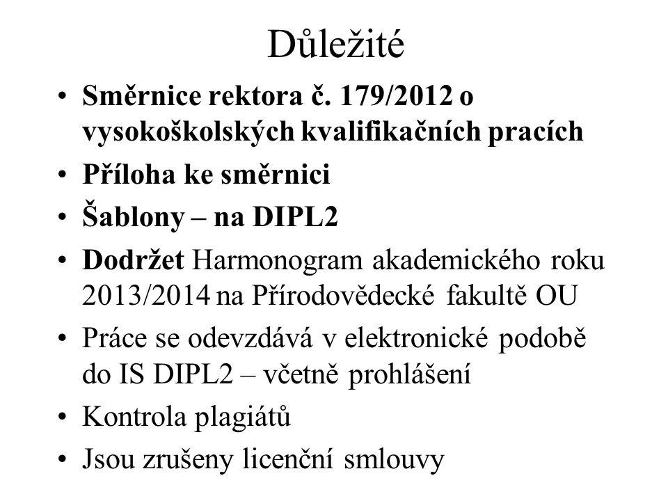 Důležité Směrnice rektora č. 179/2012 o vysokoškolských kvalifikačních pracích Příloha ke směrnici Šablony – na DIPL2 Dodržet Harmonogram akademického