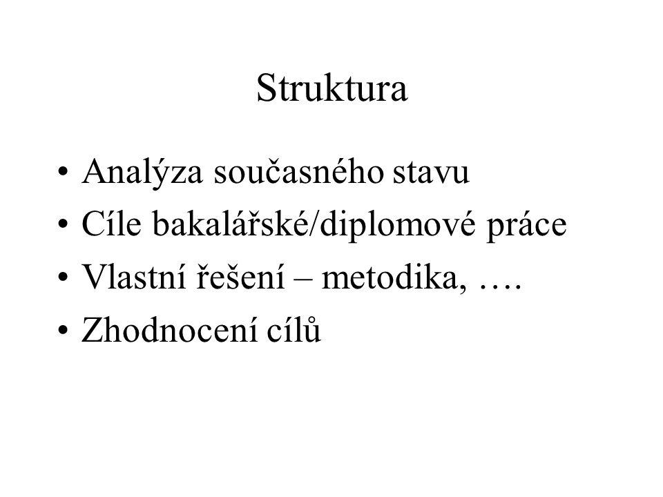 Struktura Analýza současného stavu Cíle bakalářské/diplomové práce Vlastní řešení – metodika, ….