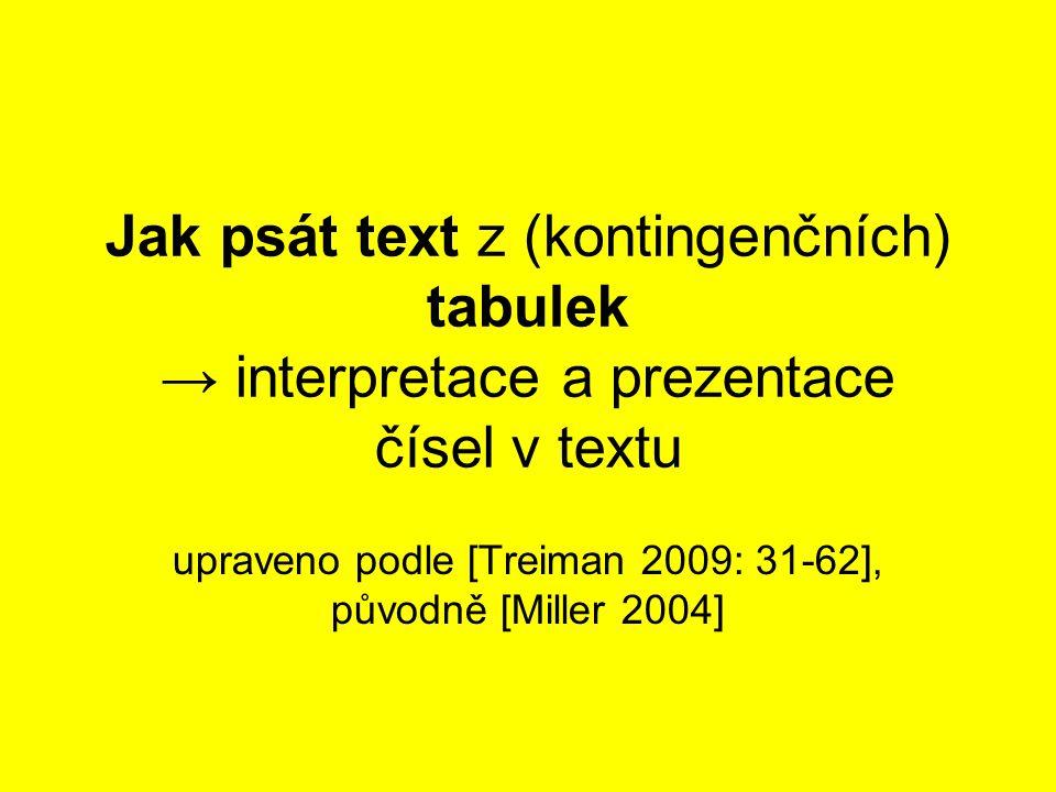 Jak psát text z (kontingenčních) tabulek → interpretace a prezentace čísel v textu upraveno podle [Treiman 2009: 31-62], původně [Miller 2004]