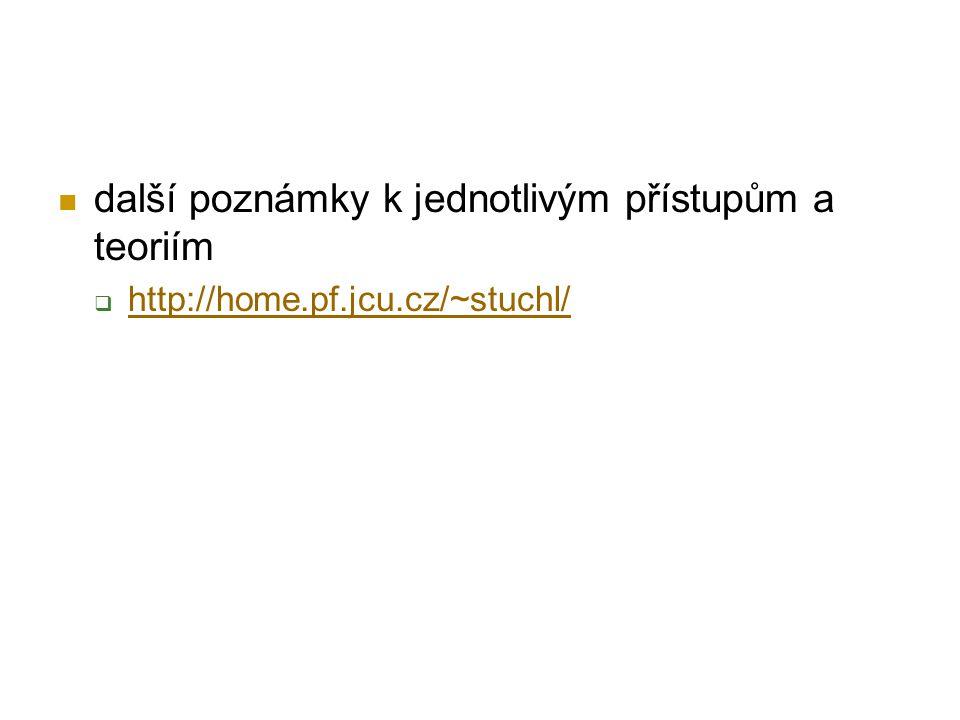 další poznámky k jednotlivým přístupům a teoriím  http://home.pf.jcu.cz/~stuchl/ http://home.pf.jcu.cz/~stuchl/