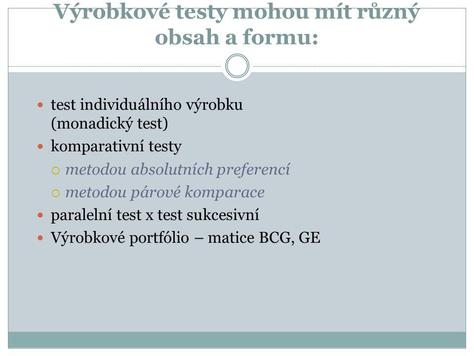 Výrobkové testy mohou mít různý obsah a formu: test individuálního výrobku (monadický test) komparativní testy  metodou absolutních preferencí  metodou párové komparace paralelní test x test sukcesivní Výrobkové portfólio – matice BCG, GE