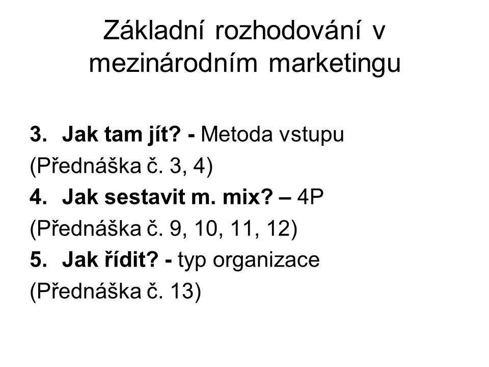 Základní rozhodování v mezinárodním marketingu 3.Jak tam jít? - Metoda vstupu (Přednáška č. 3, 4) 4.Jak sestavit m. mix? – 4P (Přednáška č. 9, 10, 11,