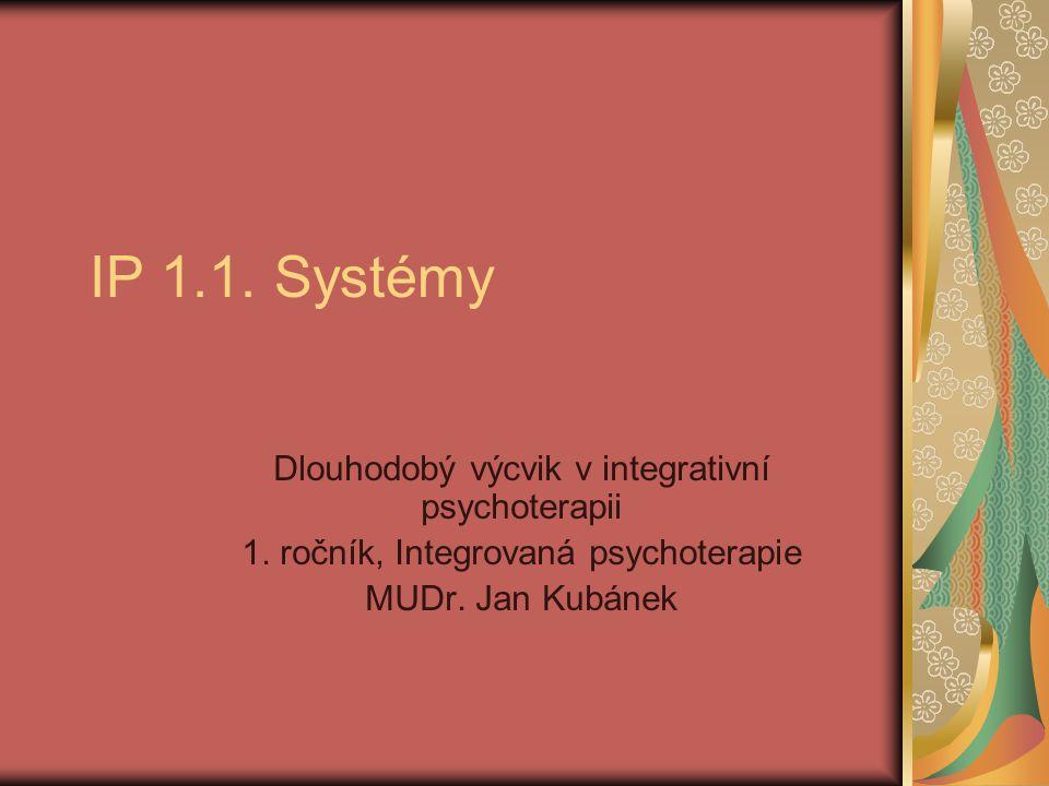 IP 1.1. Systémy Dlouhodobý výcvik v integrativní psychoterapii 1. ročník, Integrovaná psychoterapie MUDr. Jan Kubánek