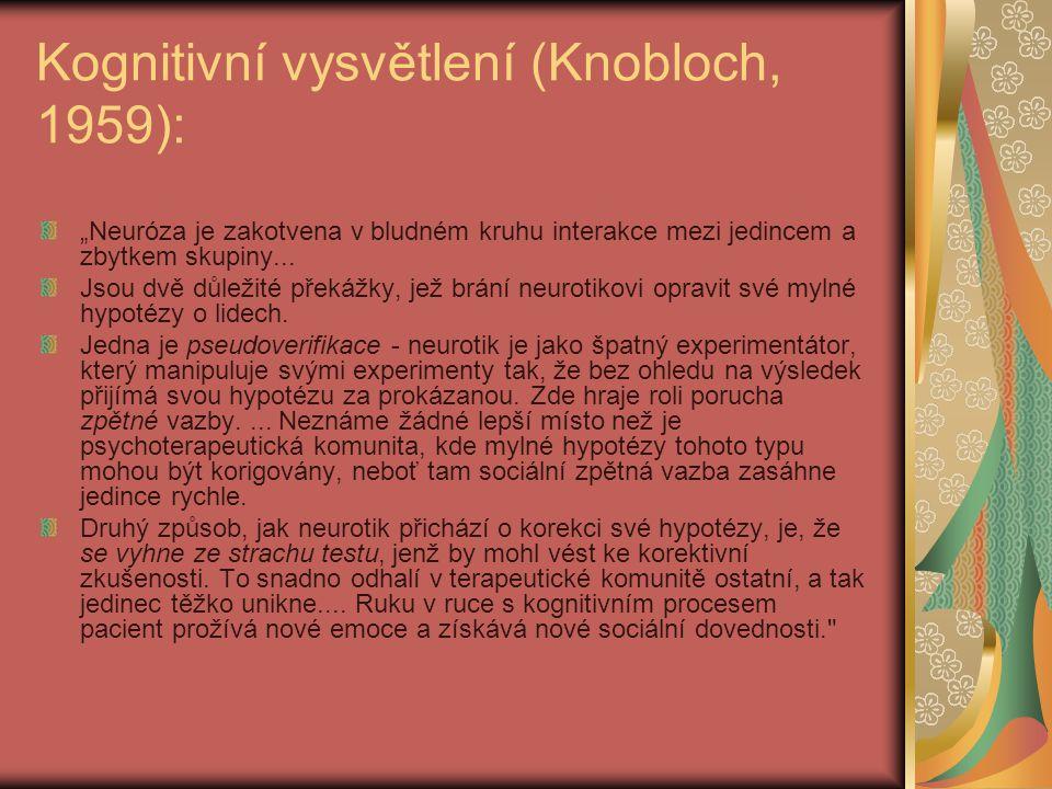 """Kognitivní vysvětlení (Knobloch, 1959): """"Neuróza je zakotvena v bludném kruhu interakce mezi jedincem a zbytkem skupiny..."""