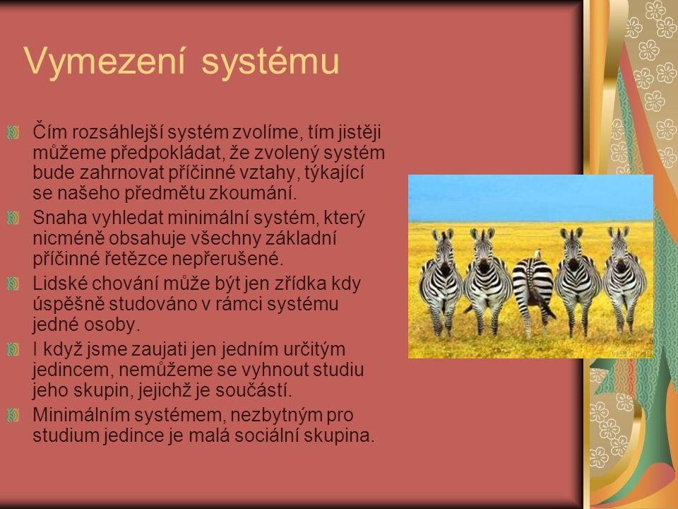 Vymezení systému Čím rozsáhlejší systém zvolíme, tím jistěji můžeme předpokládat, že zvolený systém bude zahrnovat příčinné vztahy, týkající se našeho
