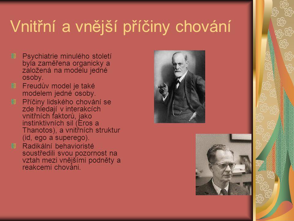 Vnitřní a vnější příčiny chování Psychiatrie minulého století byla zaměřena organicky a založená na modelu jedné osoby. Freudův model je také modelem