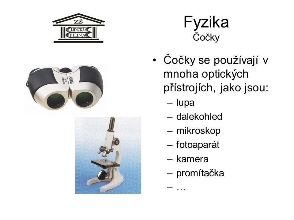 Fyzika Čočky Čočky se používají v mnoha optických přístrojích, jako jsou: –lupa –dalekohled –mikroskop –fotoaparát –kamera –promítačka –…–…