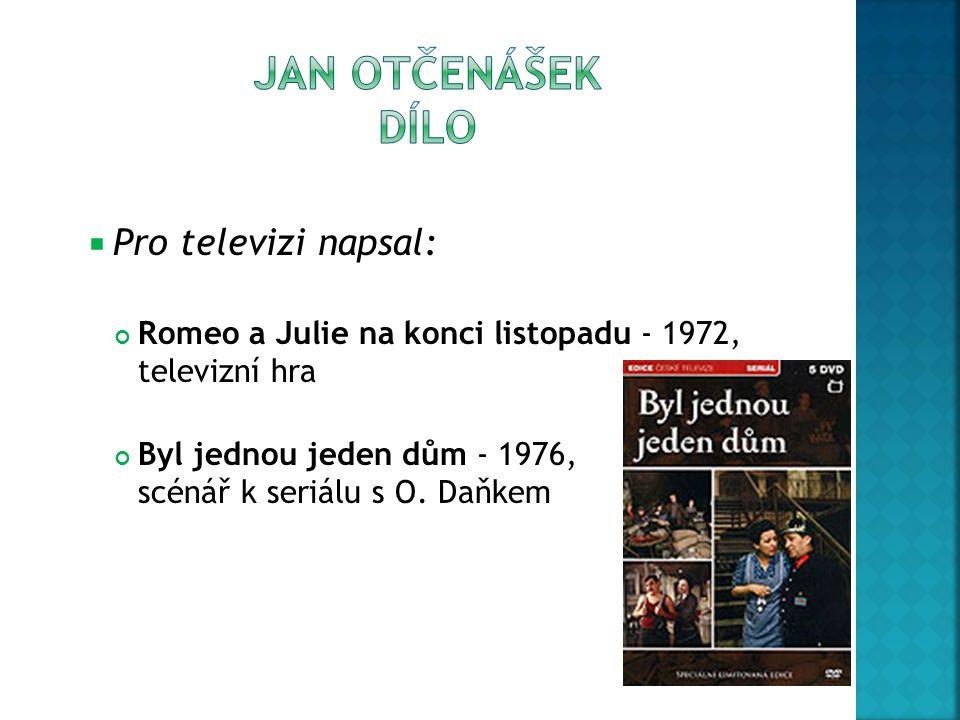 Pro televizi napsal: Romeo a Julie na konci listopadu - 1972, televizní hra Byl jednou jeden dům - 1976, scénář k seriálu s O. Daňkem