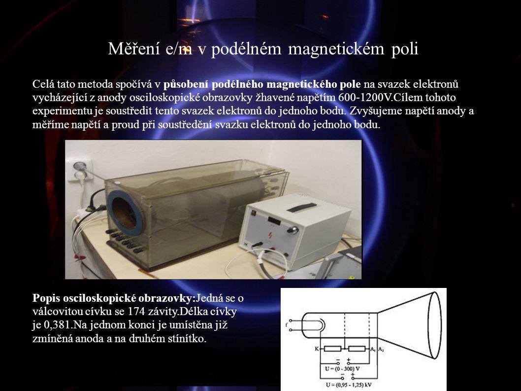 Měření e/m v podélném magnetickém poli Celá tato metoda spočívá v působení podélného magnetického pole na svazek elektronů vycházející z anody oscilos