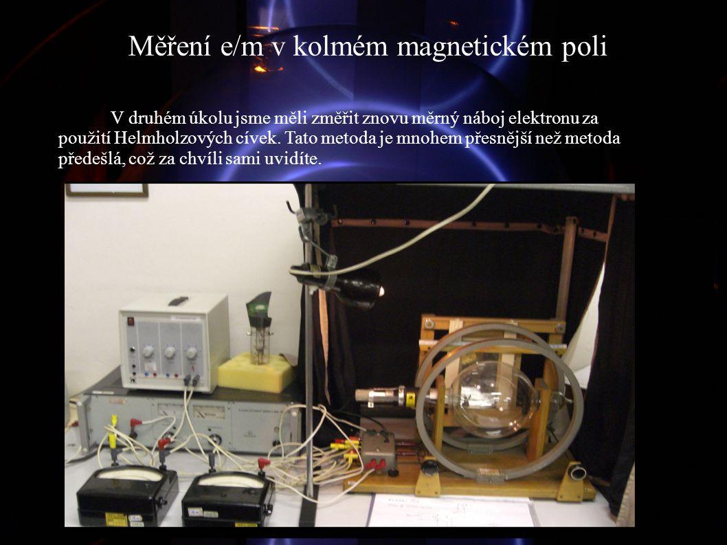 Měření e/m v kolmém magnetickém poli V druhém úkolu jsme měli změřit znovu měrný náboj elektronu za použití Helmholzových cívek. Tato metoda je mnohem
