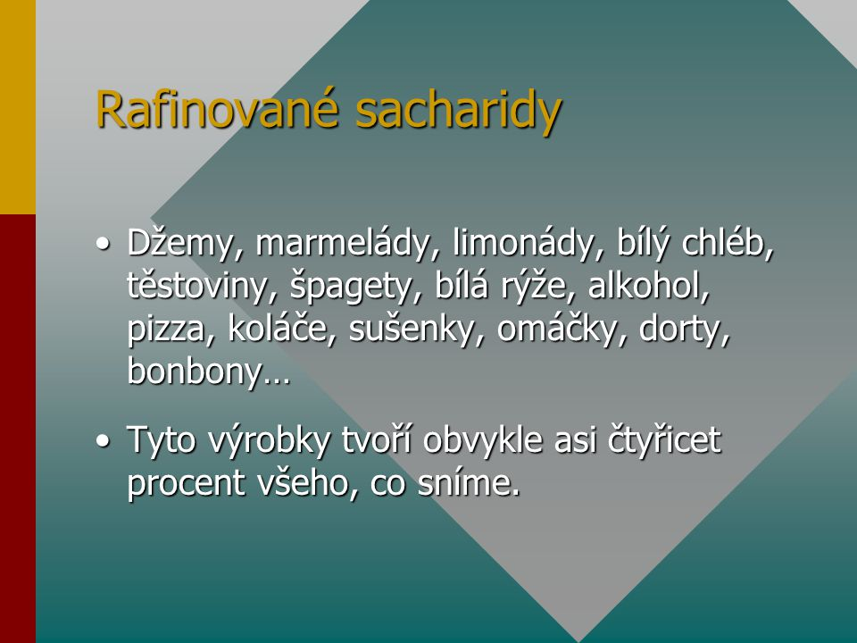 Rafinované sacharidy Džemy, marmelády, limonády, bílý chléb, těstoviny, špagety, bílá rýže, alkohol, pizza, koláče, sušenky, omáčky, dorty, bonbony…Dž