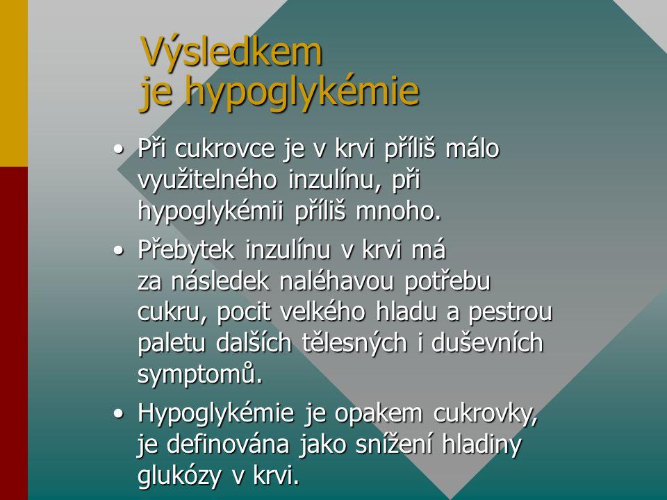 Výsledkem je hypoglykémie Při cukrovce je v krvi příliš málo využitelného inzulínu, při hypoglykémii příliš mnoho.Při cukrovce je v krvi příliš málo v