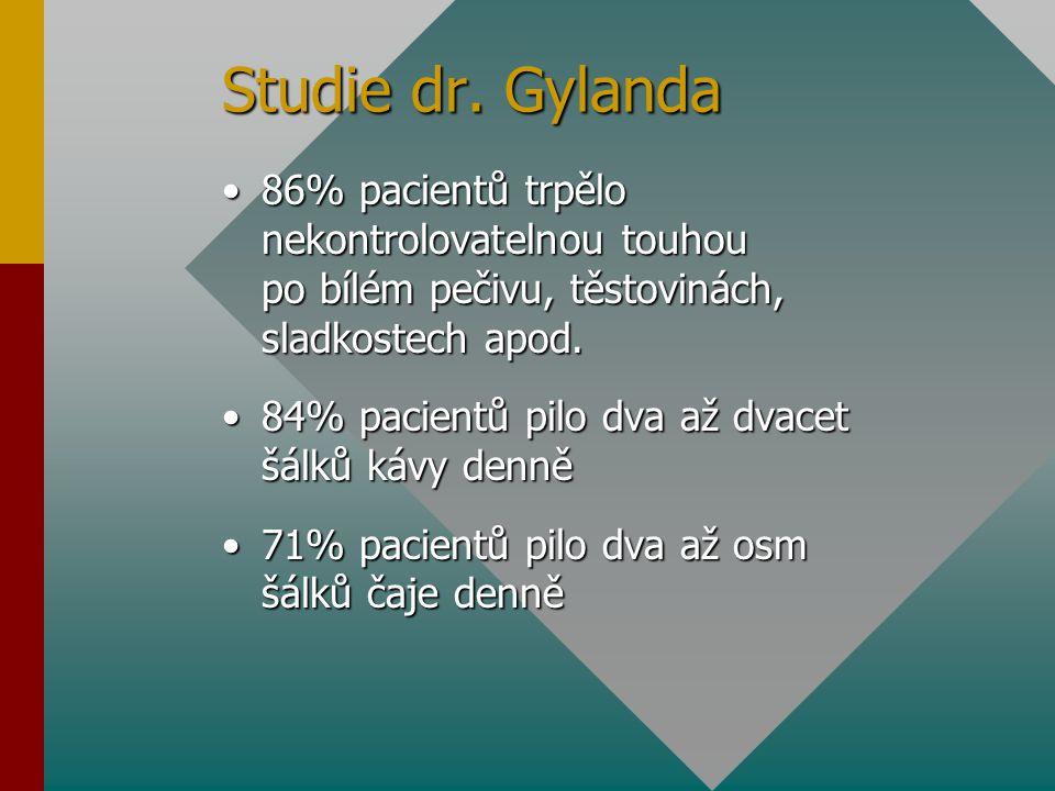 Studie dr. Gylanda 86% pacientů trpělo nekontrolovatelnou touhou po bílém pečivu, těstovinách, sladkostech apod.86% pacientů trpělo nekontrolovatelnou