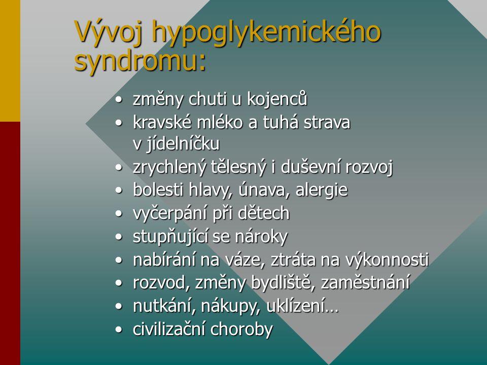 Vývoj hypoglykemického syndromu: změny chuti u kojencůzměny chuti u kojenců kravské mléko a tuhá strava v jídelníčkukravské mléko a tuhá strava v jíde