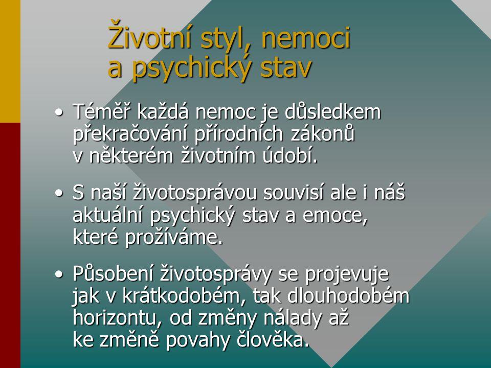 Životní styl, nemoci a psychický stav Téměř každá nemoc je důsledkem překračování přírodních zákonů v některém životním údobí.Téměř každá nemoc je důs