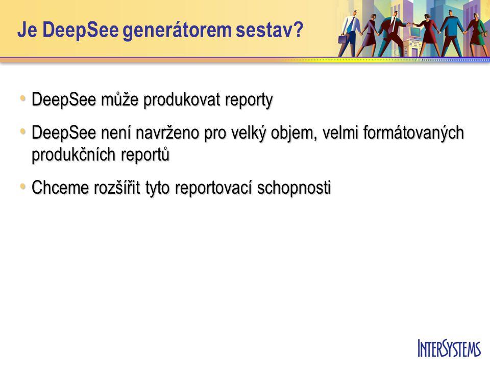 Je DeepSee generátorem sestav.