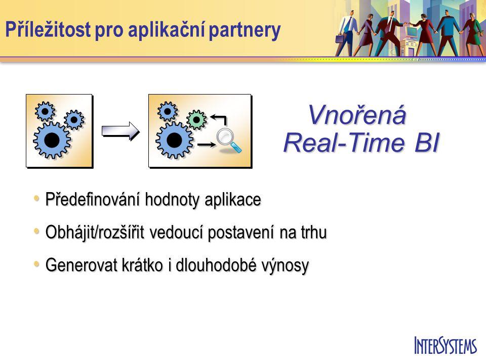 Příležitost pro aplikační partnery Předefinování hodnoty aplikace Předefinování hodnoty aplikace Obhájit/rozšířit vedoucí postavení na trhu Obhájit/rozšířit vedoucí postavení na trhu Generovat krátko i dlouhodobé výnosy Generovat krátko i dlouhodobé výnosy Vnořená Real-Time BI