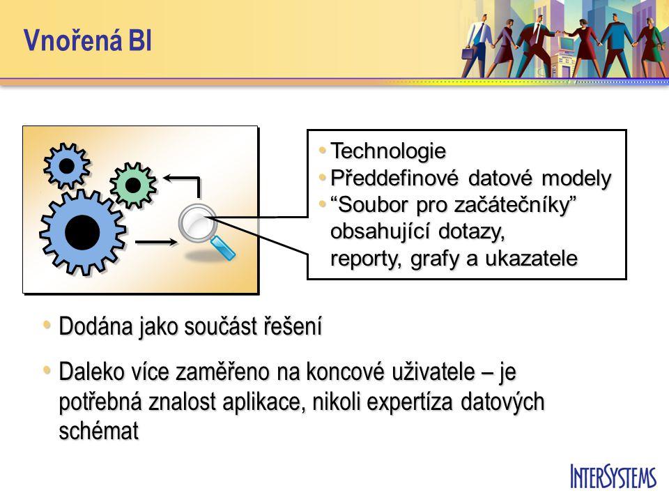 Vnořená BI Dodána jako součást řešení Dodána jako součást řešení Daleko více zaměřeno na koncové uživatele – je potřebná znalost aplikace, nikoli expertíza datových schémat Daleko více zaměřeno na koncové uživatele – je potřebná znalost aplikace, nikoli expertíza datových schémat Technologie Technologie Předdefinové datové modely Předdefinové datové modely Soubor pro začátečníky obsahující dotazy, reporty, grafy a ukazatele Soubor pro začátečníky obsahující dotazy, reporty, grafy a ukazatele