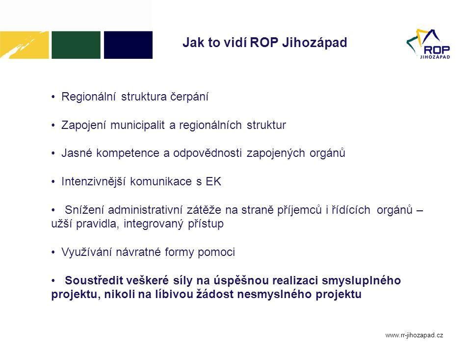 www.rr-jihozapad.cz Jak to vidí ROP Jihozápad Regionální struktura čerpání Zapojení municipalit a regionálních struktur Jasné kompetence a odpovědnost