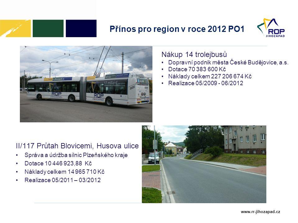 www.rr-jihozapad.cz Přínos pro region v roce 2012 PO1 II/117 Průtah Blovicemi, Husova ulice Správa a údržba silnic Plzeňského kraje Dotace 10 446 923,