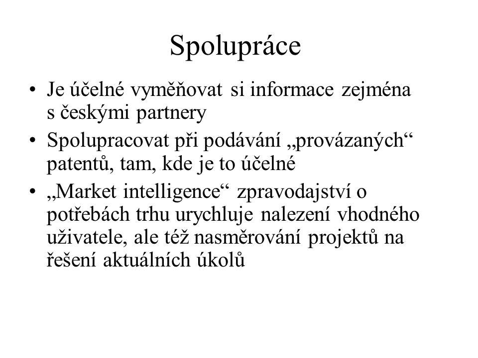 """Spolupráce Je účelné vyměňovat si informace zejména s českými partnery Spolupracovat při podávání """"provázaných"""" patentů, tam, kde je to účelné """"Market"""