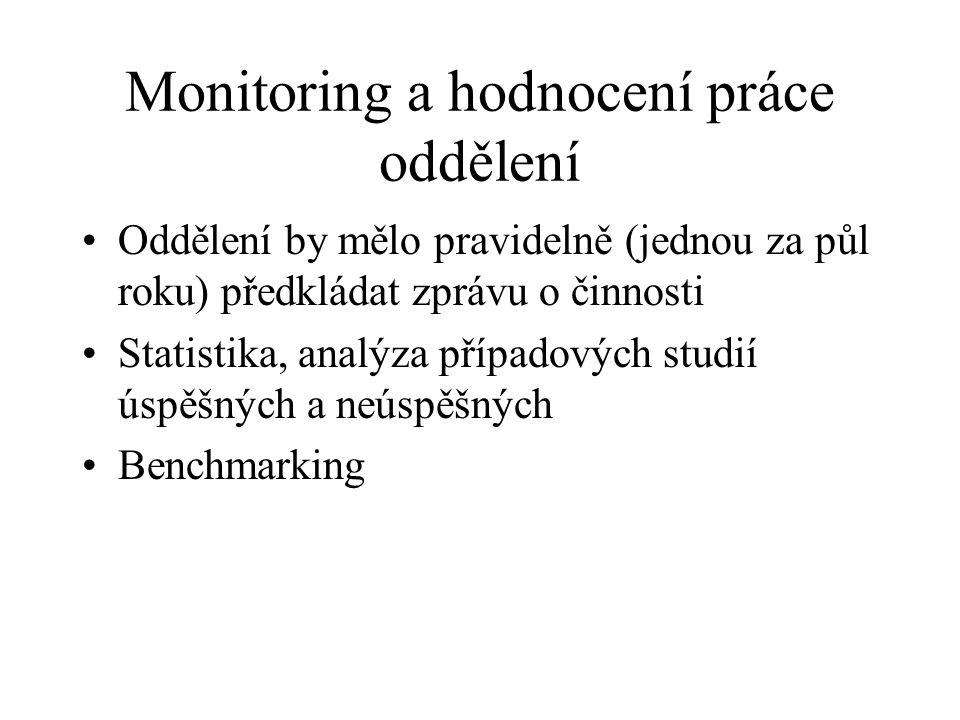 Monitoring a hodnocení práce oddělení Oddělení by mělo pravidelně (jednou za půl roku) předkládat zprávu o činnosti Statistika, analýza případových st