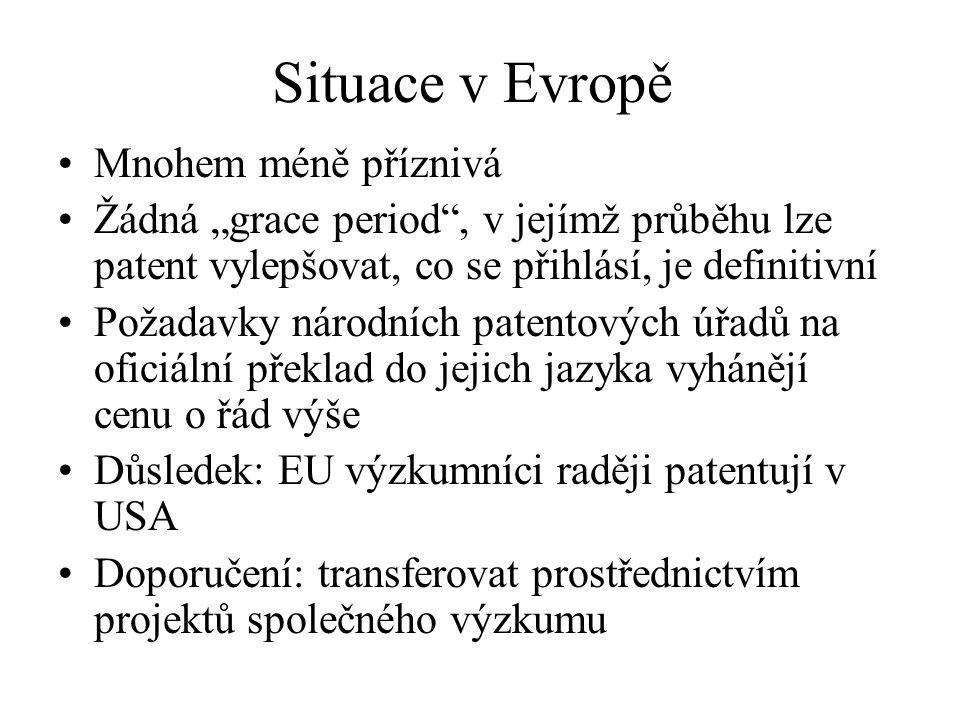 """Situace v Evropě Mnohem méně příznivá Žádná """"grace period"""", v jejímž průběhu lze patent vylepšovat, co se přihlásí, je definitivní Požadavky národních"""