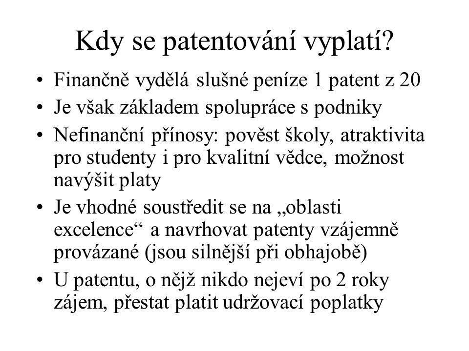 Kdy se patentování vyplatí? Finančně vydělá slušné peníze 1 patent z 20 Je však základem spolupráce s podniky Nefinanční přínosy: pověst školy, atrakt