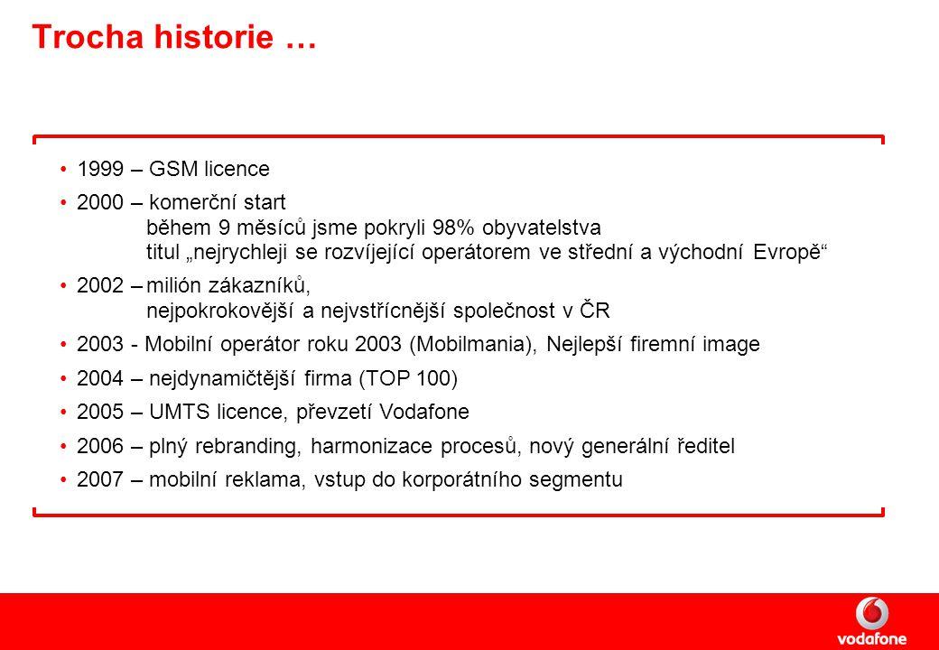 """Trocha historie … 1999 – GSM licence 2000 – komerční start během 9 měsíců jsme pokryli 98% obyvatelstva titul """"nejrychleji se rozvíjející operátorem ve střední a východní Evropě 2002 –milión zákazníků, nejpokrokovější a nejvstřícnější společnost v ČR 2003 - Mobilní operátor roku 2003 (Mobilmania), Nejlepší firemní image 2004 – nejdynamičtější firma (TOP 100) 2005 – UMTS licence, převzetí Vodafone 2006 – plný rebranding, harmonizace procesů, nový generální ředitel 2007 – mobilní reklama, vstup do korporátního segmentu"""