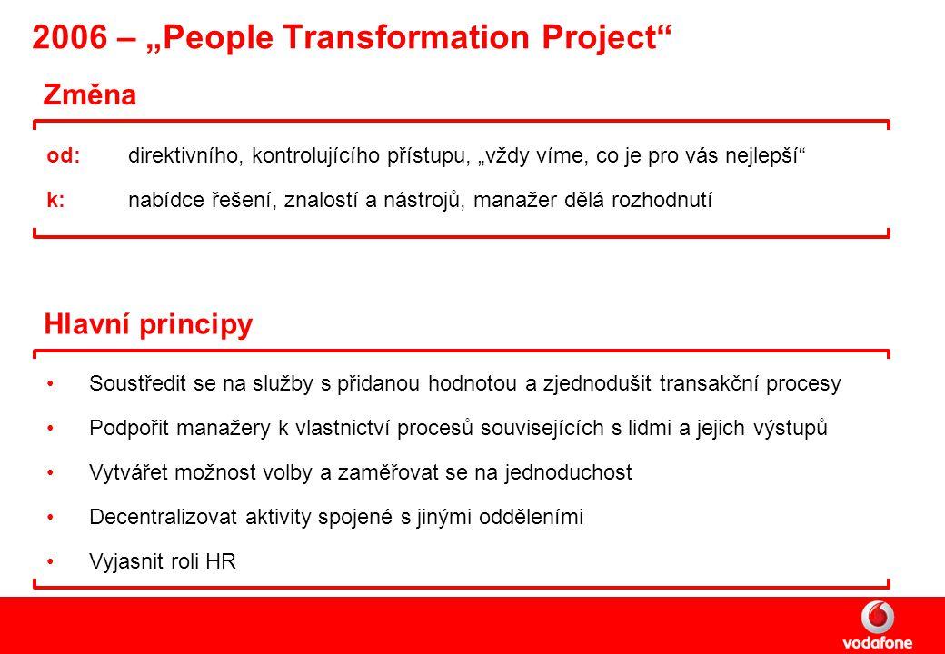 """2006 – """"People Transformation Project Změna od: direktivního, kontrolujícího přístupu, """"vždy víme, co je pro vás nejlepší k:nabídce řešení, znalostí a nástrojů, manažer dělá rozhodnutí Hlavní principy Soustředit se na služby s přidanou hodnotou a zjednodušit transakční procesy Podpořit manažery k vlastnictví procesů souvisejících s lidmi a jejich výstupů Vytvářet možnost volby a zaměřovat se na jednoduchost Decentralizovat aktivity spojené s jinými odděleními Vyjasnit roli HR"""