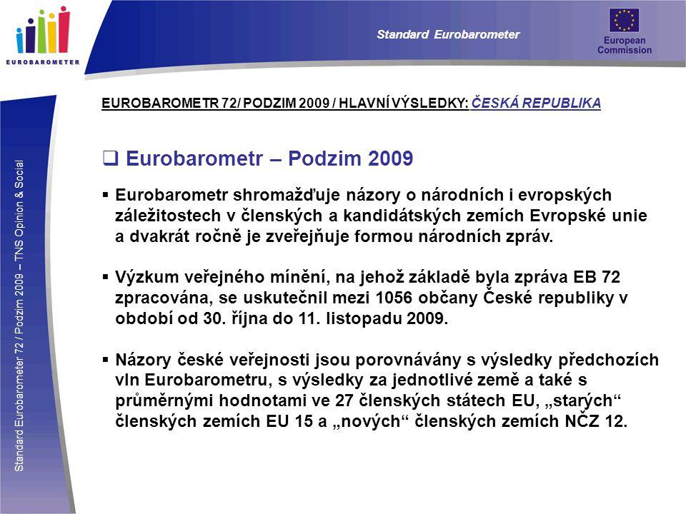 Standard Eurobarometer 72 / Podzim 2009 – TNS Opinion & Social Standard Eurobarometer EUROBAROMETR 72/ PODZIM 2009 / HLAVNÍ VÝSLEDKY: ČESKÁ REPUBLIKA  Eurobarometr – Podzim 2009  Eurobarometr shromažďuje názory o národních i evropských záležitostech v členských a kandidátských zemích Evropské unie a dvakrát ročně je zveřejňuje formou národních zpráv.
