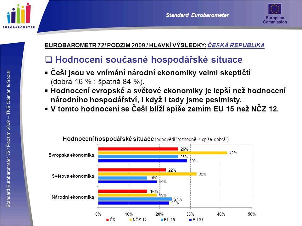 Standard Eurobarometer 72 / Podzim 2009 – TNS Opinion & Social Standard Eurobarometer EUROBAROMETR 72/ PODZIM 2009 / HLAVNÍ VÝSLEDKY: ČESKÁ REPUBLIKA  Hodnocení současné hospodářské situace  Češi jsou ve vnímání národní ekonomiky velmi skeptičtí (dobrá 16 % : špatná 84 %).